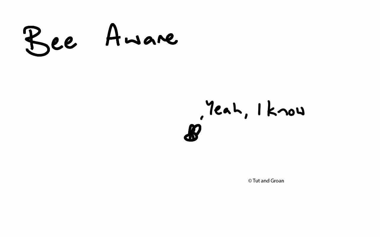 Tut and Groan Bee Aware cartoon