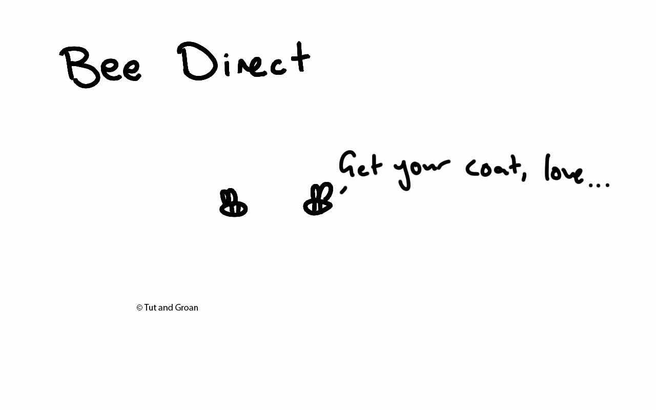 Tut and Groan Bee Direct cartoon