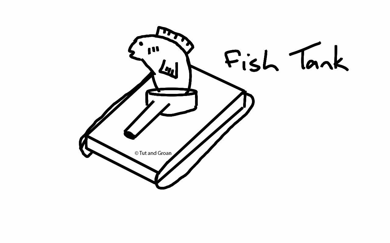 Tut and Groan Fish Tank cartoon