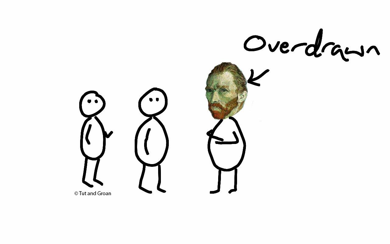 Tut and Groan - Overdrawn cartoon