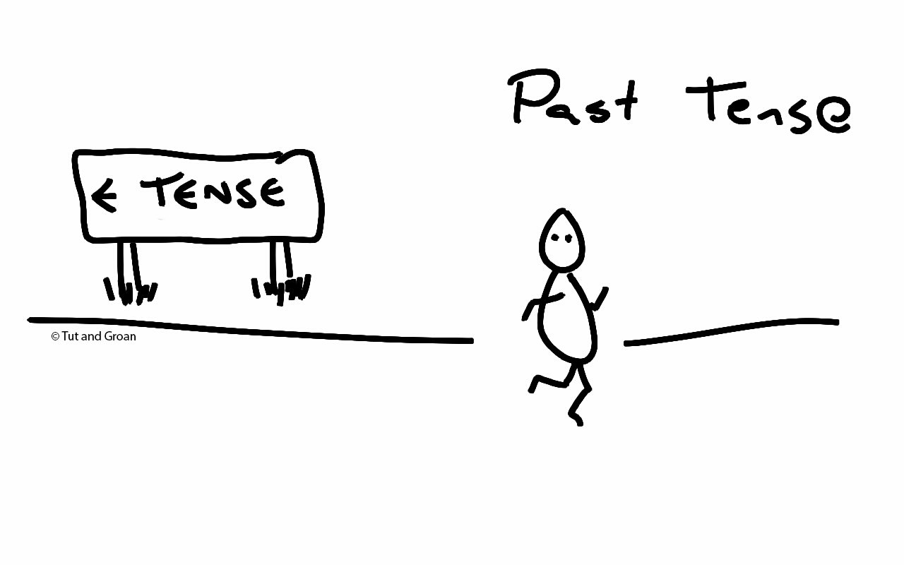 Tut and Groan Past Tense cartoon