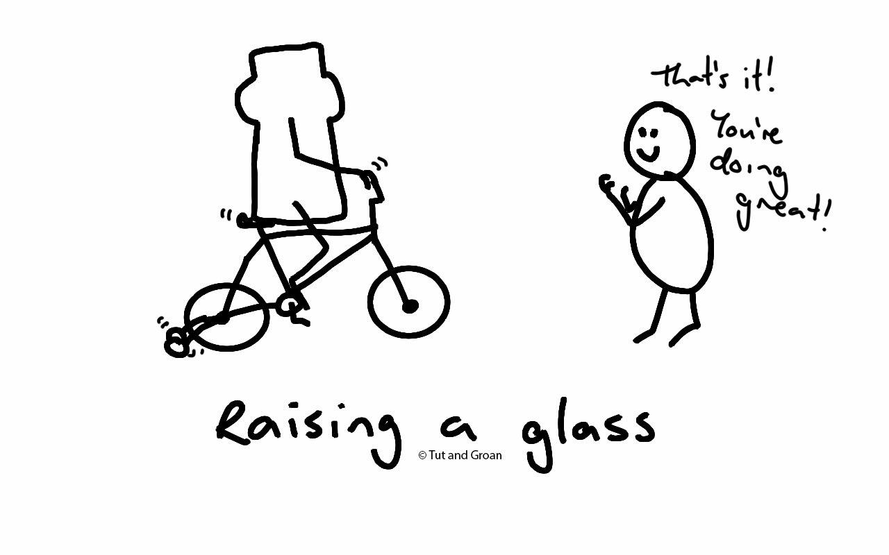 Tut and Groan Raising a Glass cartoon