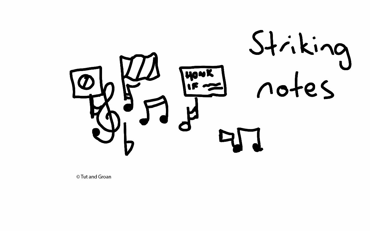 Tut and Groan Striking Notes cartoon