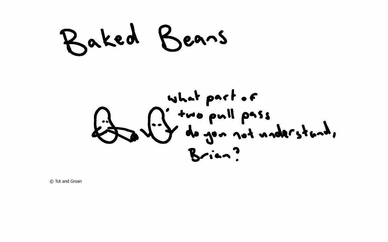 Tut and Groan Baked Beans cartoon
