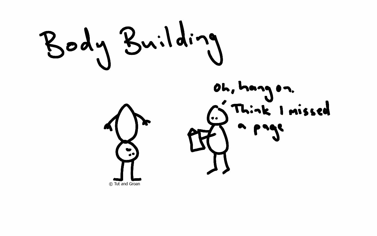 Tut and Groan Body Building cartoon