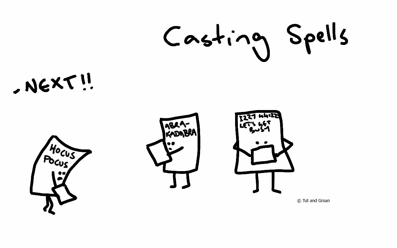 Tut and Groan Casting Spells cartoon