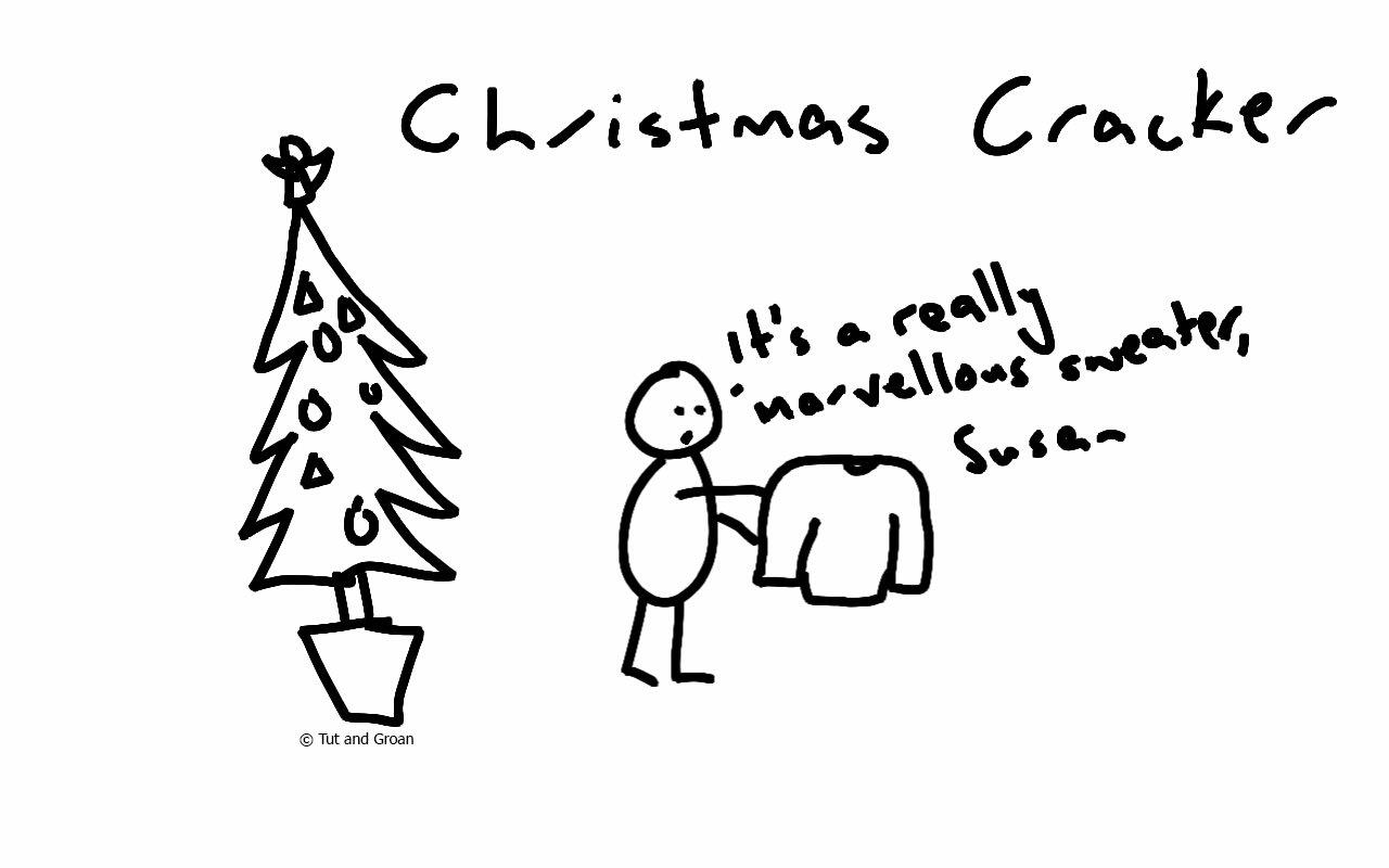 Tut and Groan Christmas Cracker cartoon