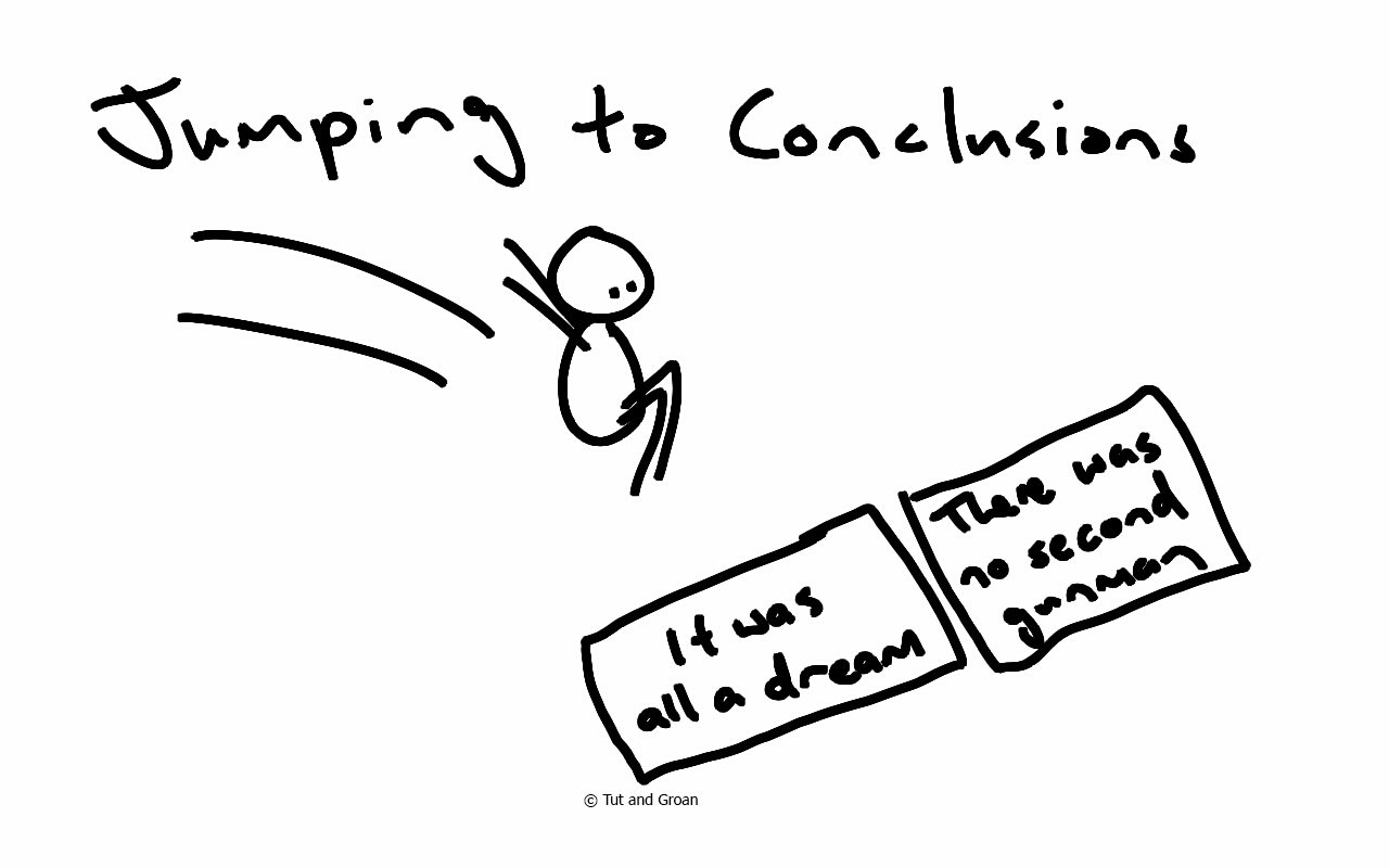 Tut and Groan Jumping to Conclusions cartoon