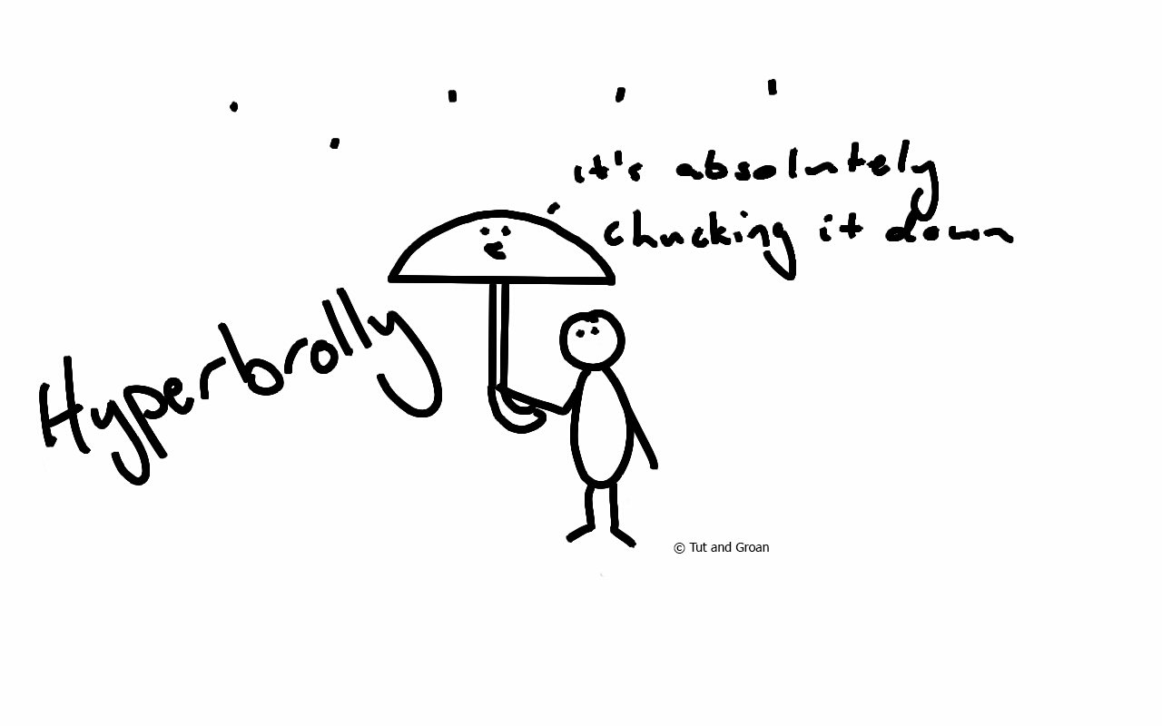 Tut and Groan Hyperbrolly hyperbole cartoon