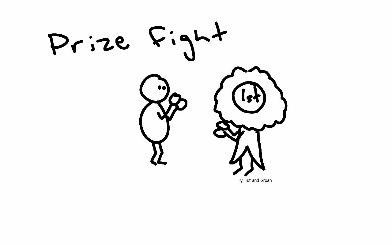 Tut and Groan Prize Fight cartoon
