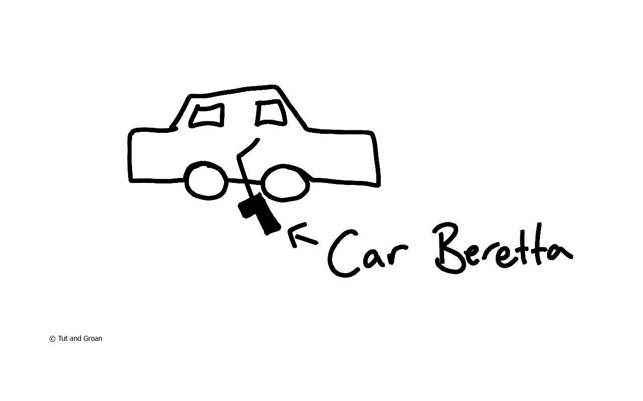 Tut and Groan Car Beretta cartoon
