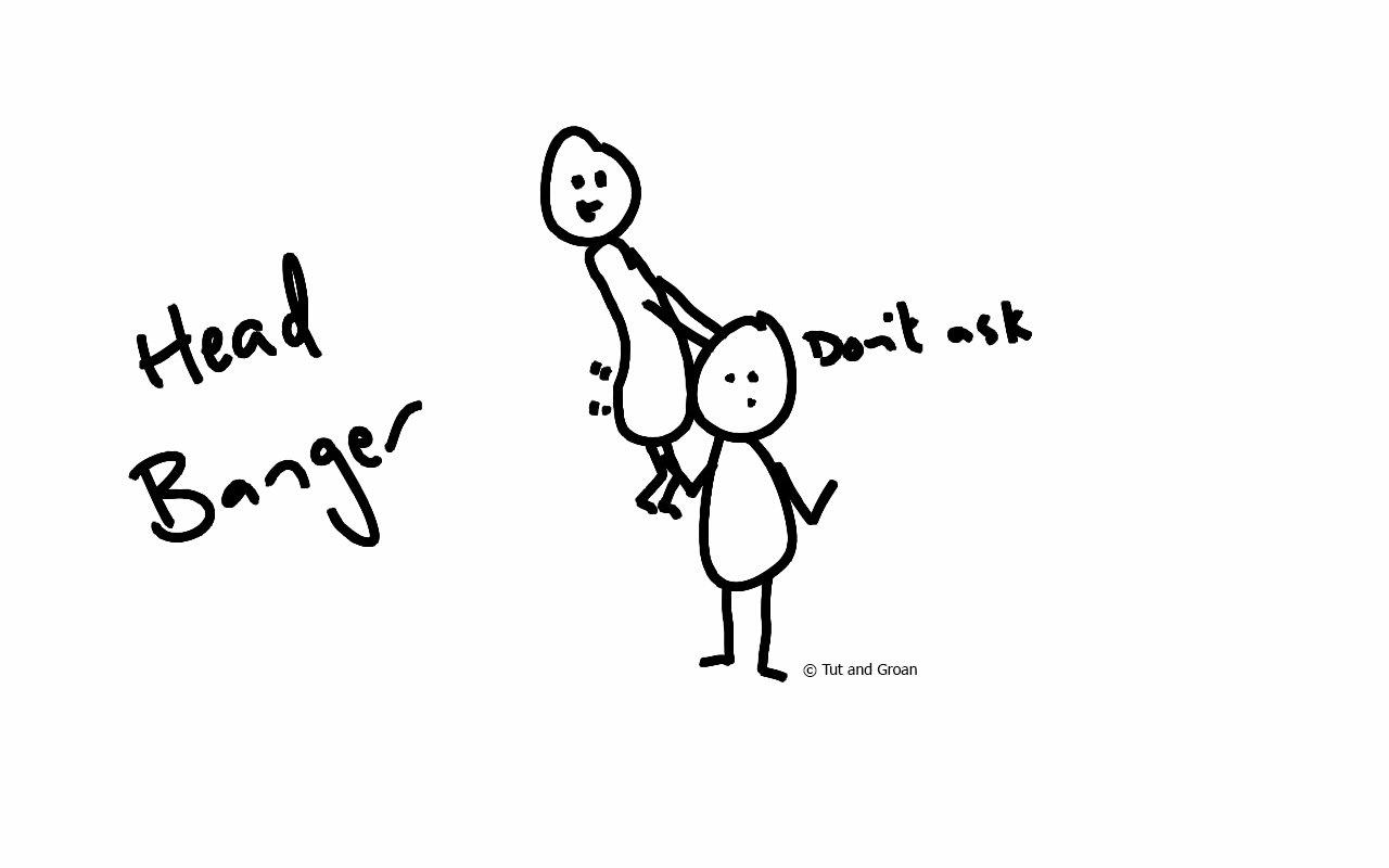 Tut and Groan Head Banger cartoon