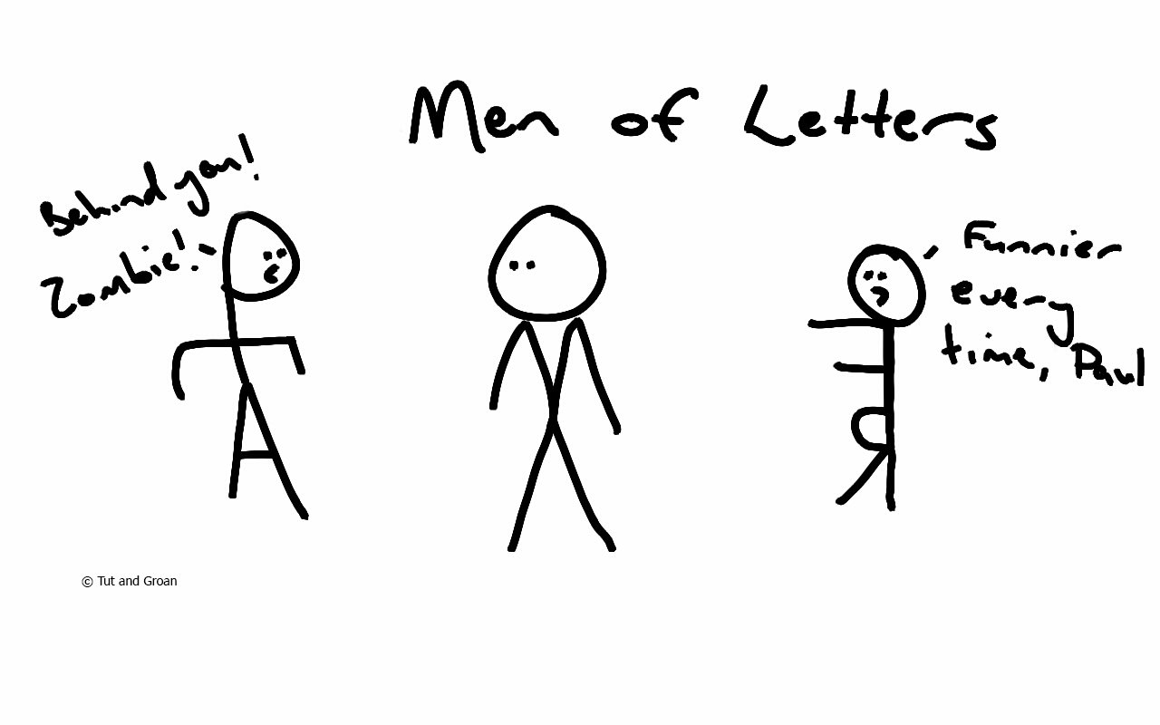 Tut and Groan Men of Letters cartoon