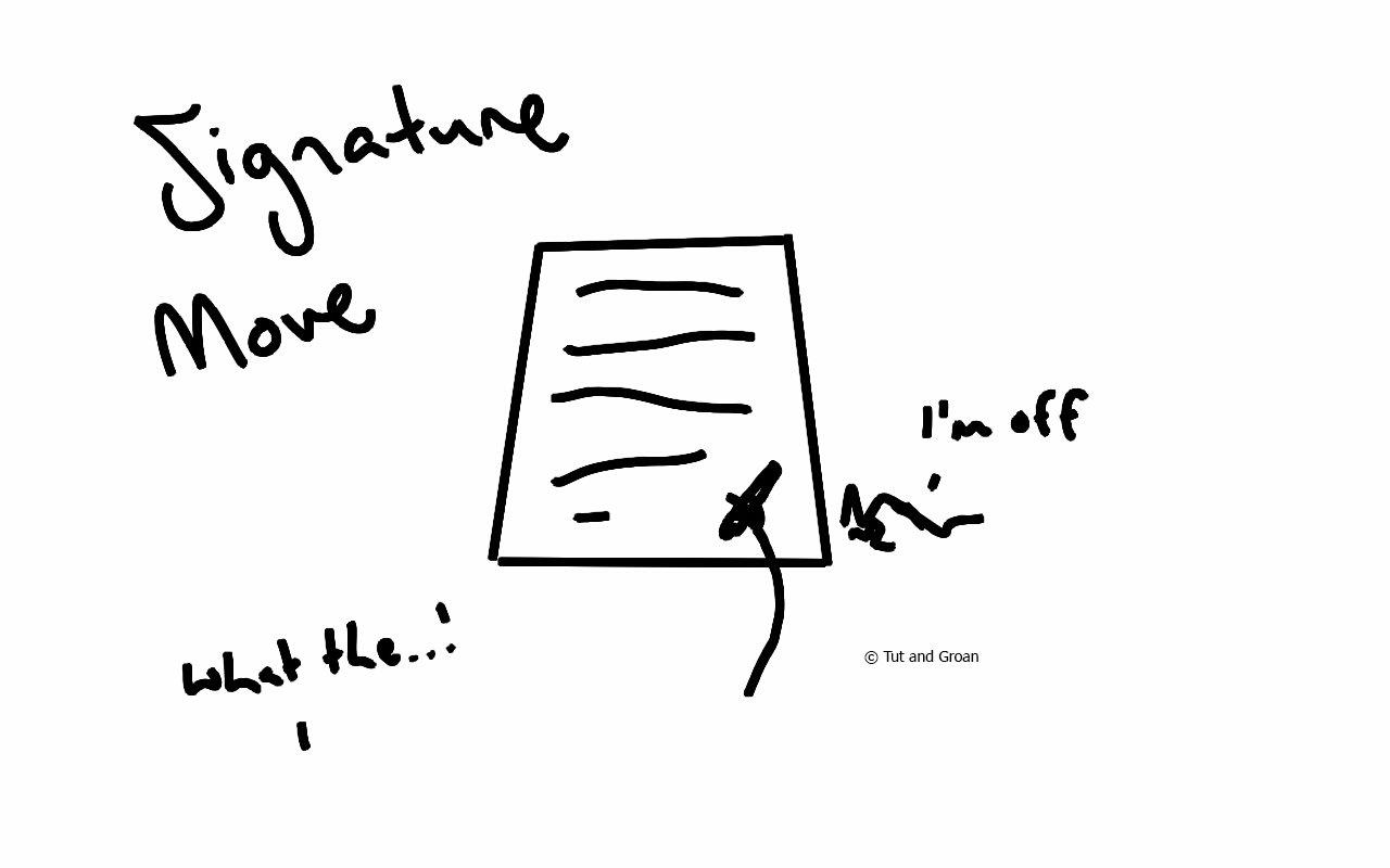 Tut and Groan Signature Move cartoon