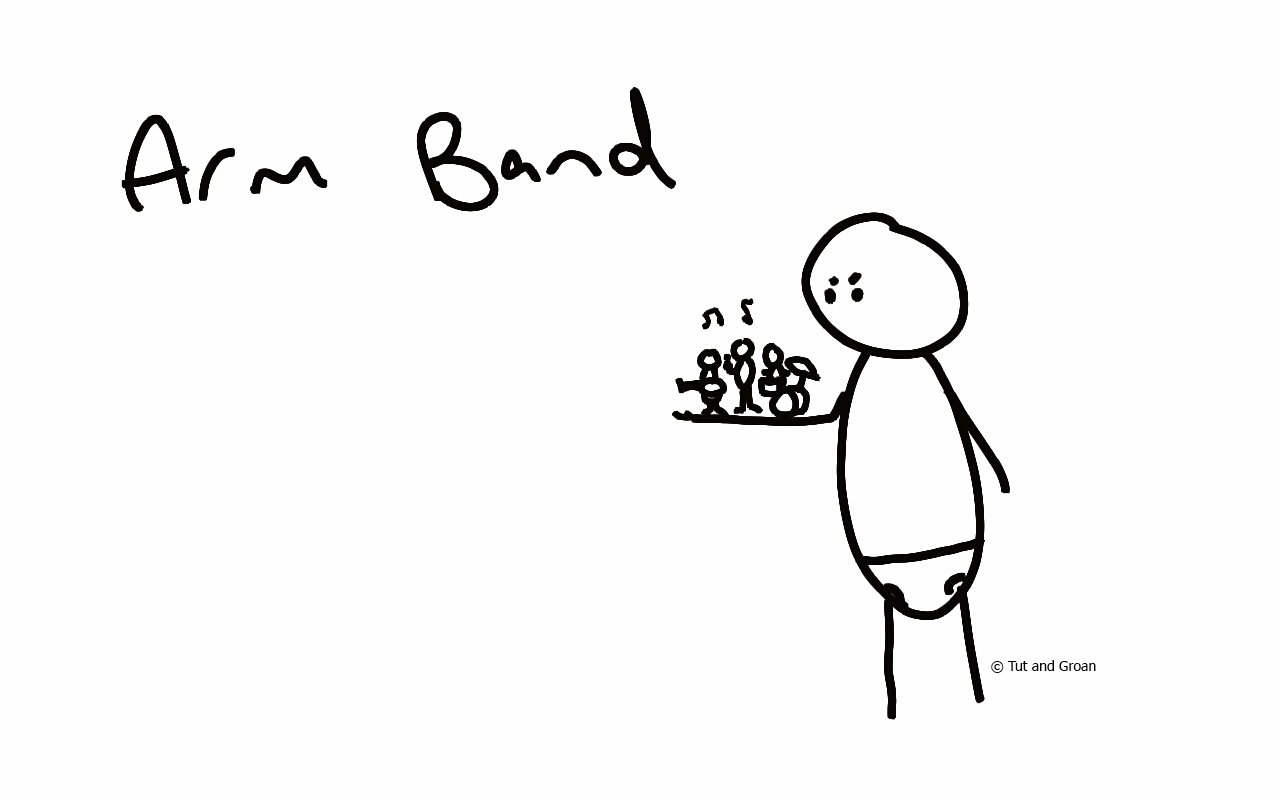 Tut and Groan Arm Band cartoon