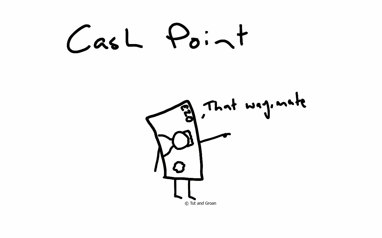 Tut and Groan Cash Point cartoon