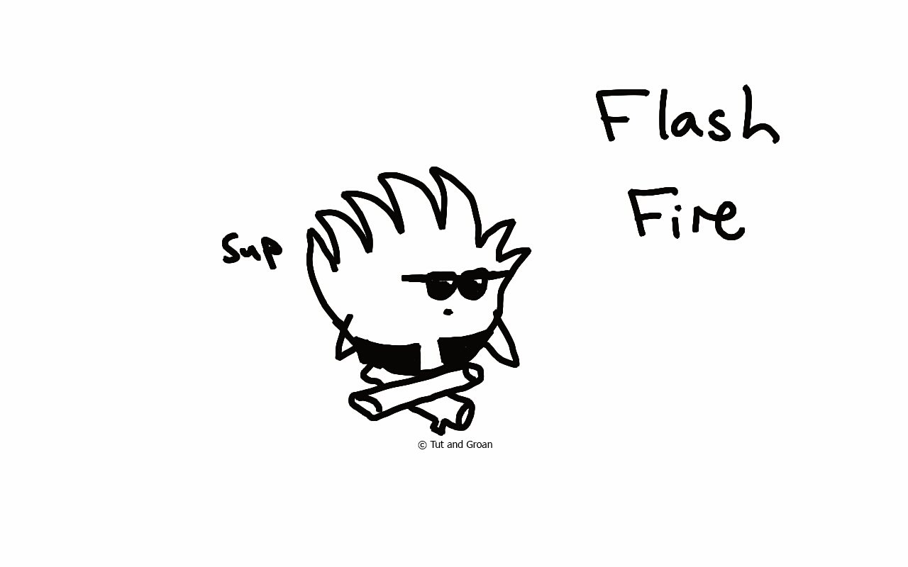 Tut and Groan Flash Fire cartoon