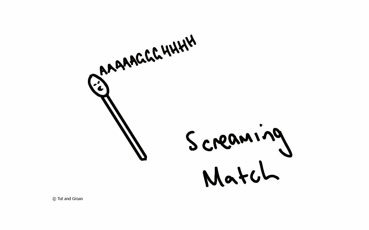 Tut and Groan Screaming Match cartoon