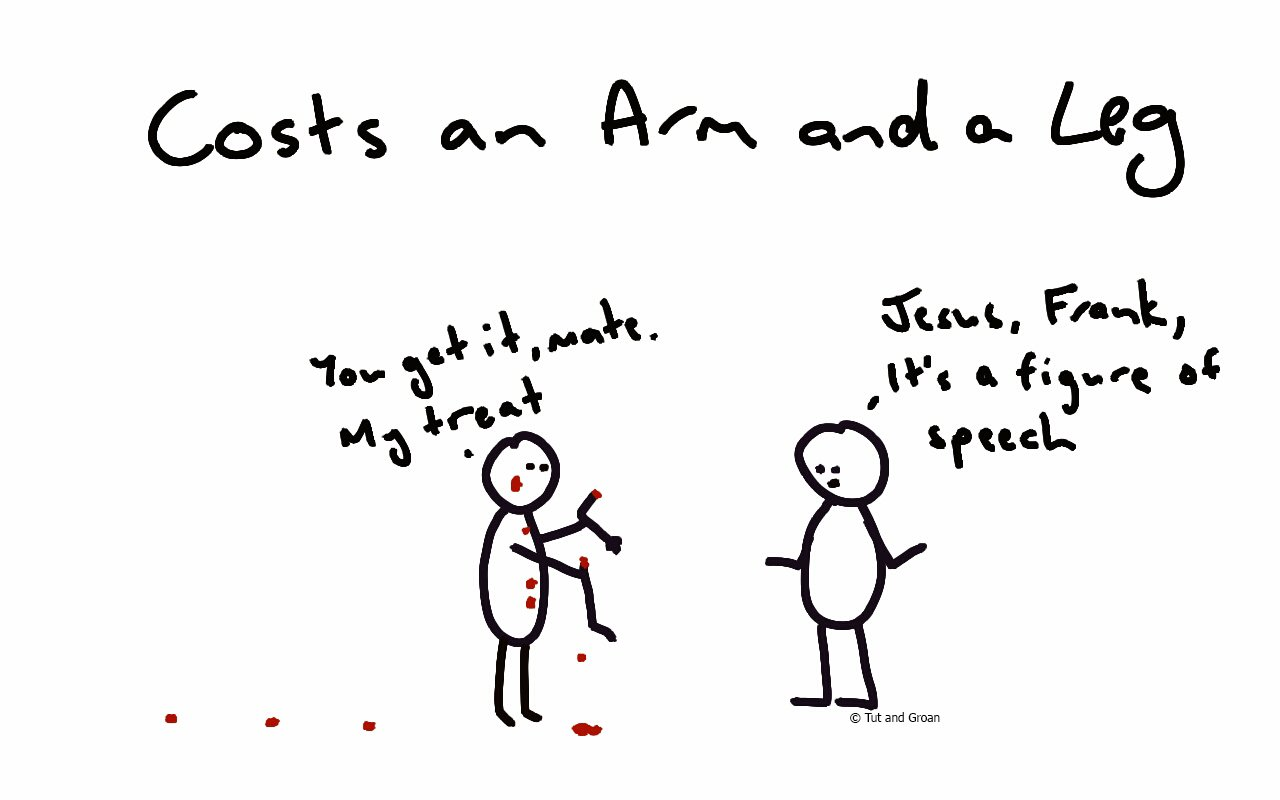 Tut and Groan Costs an Arm and a Leg cartoon