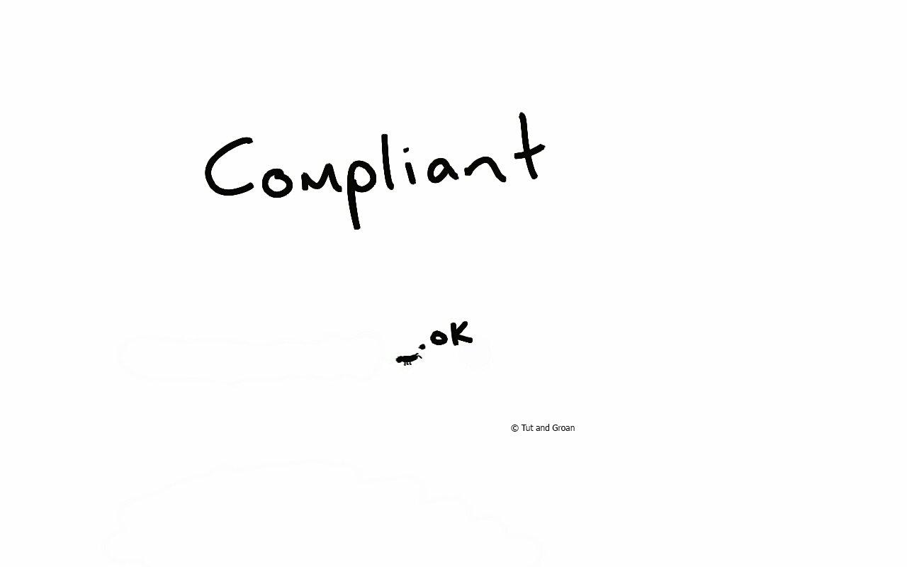 Tut and Groan Compliant cartoon