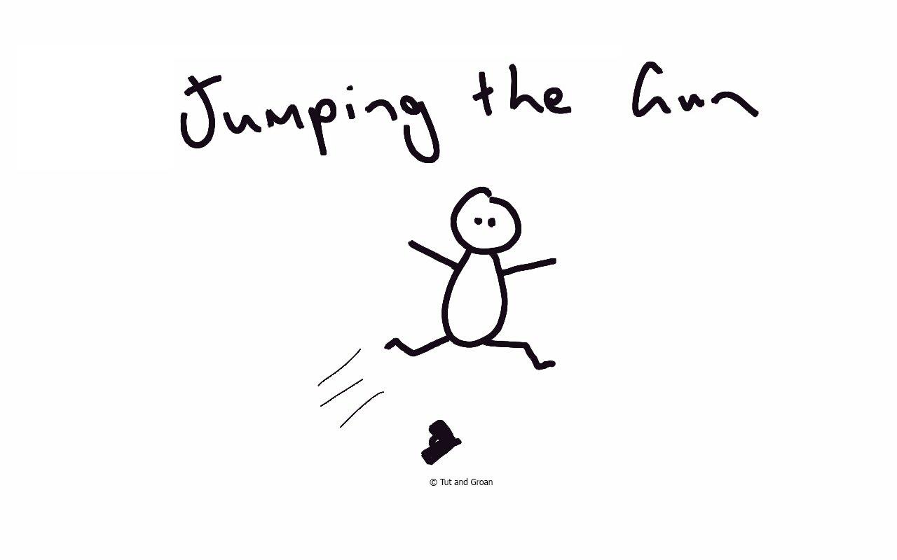 Tut and Groan Jumping the Gun cartoon