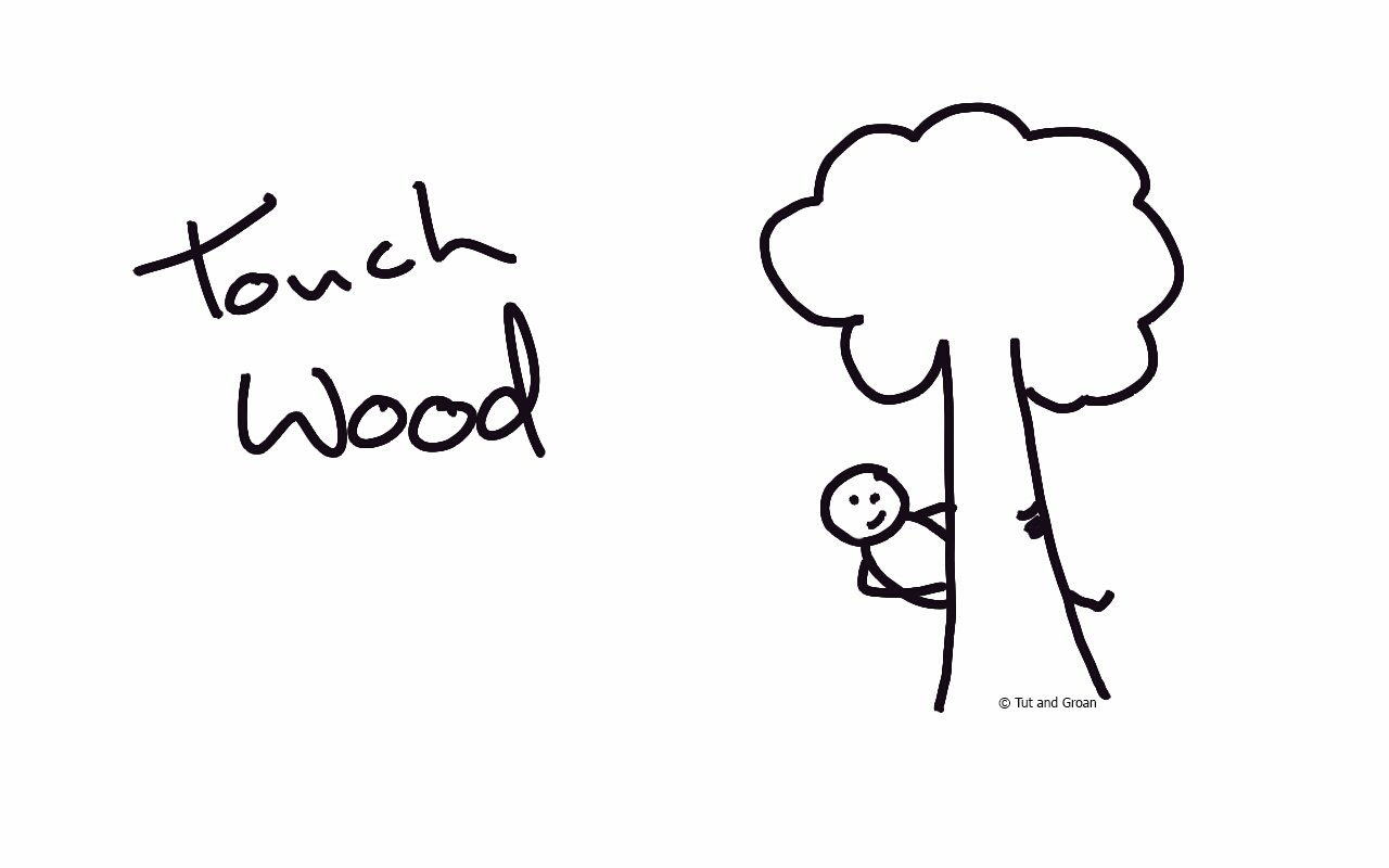 Tut and Groan Touch Wood cartoon
