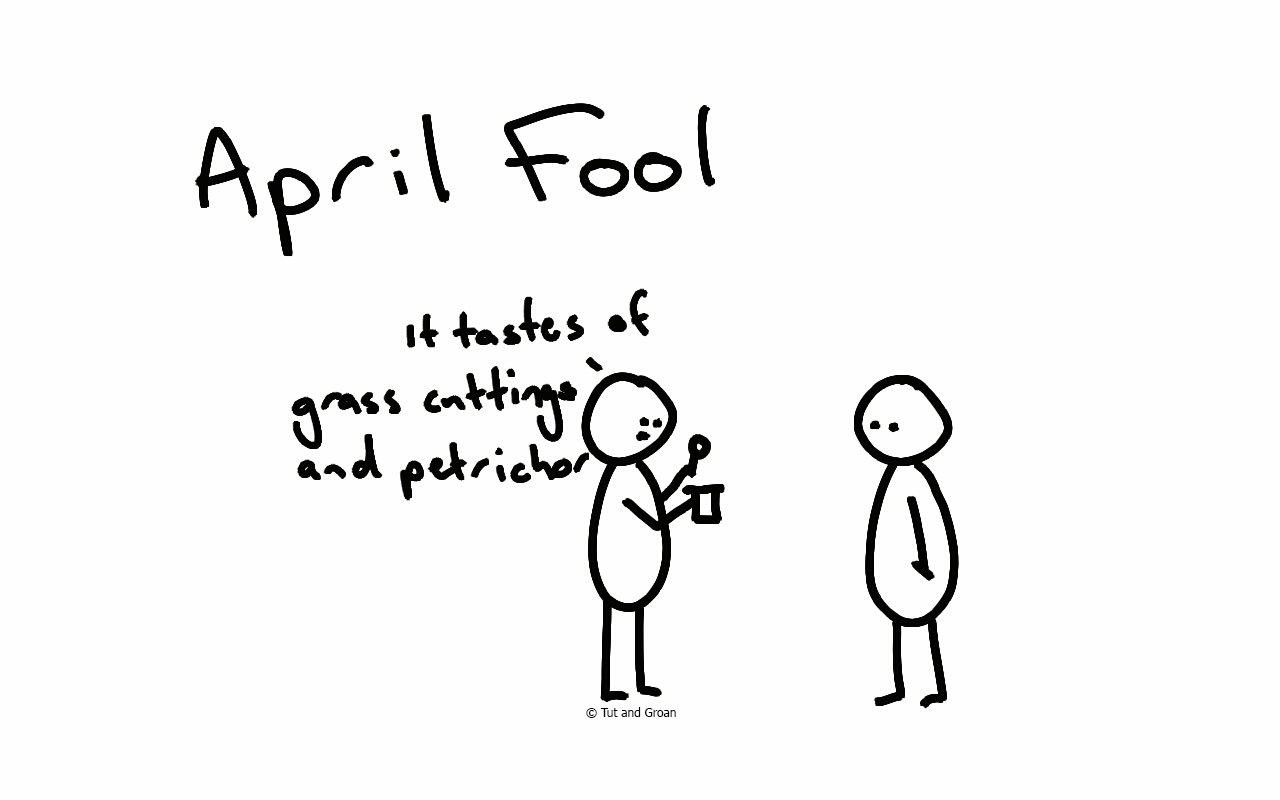Tut and Groan April Fool cartoon
