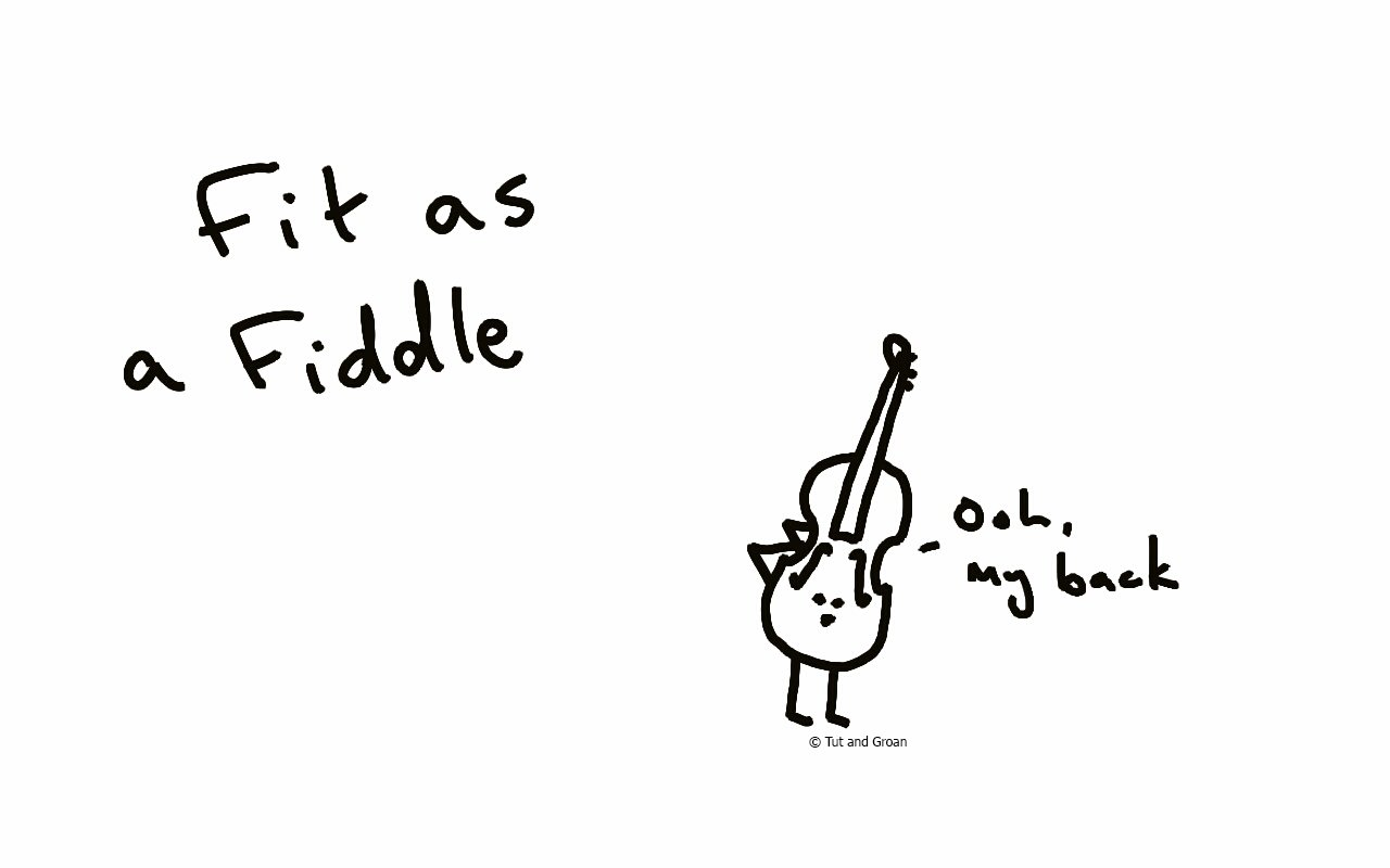 Tut and Groan Fit as a Fiddle cartoon