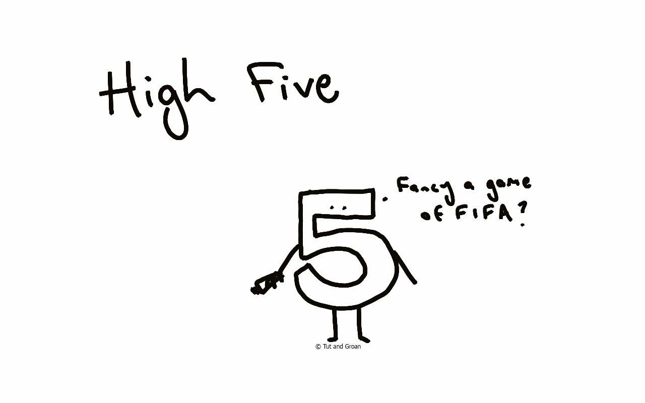Tut and Groan High Five cartoon