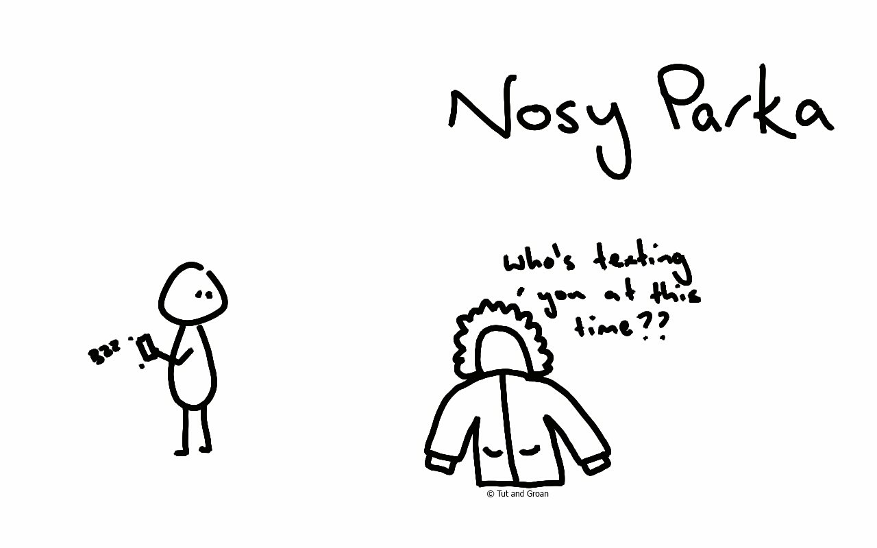Tut and Groan Nosy Parka Nosy Parker cartoon