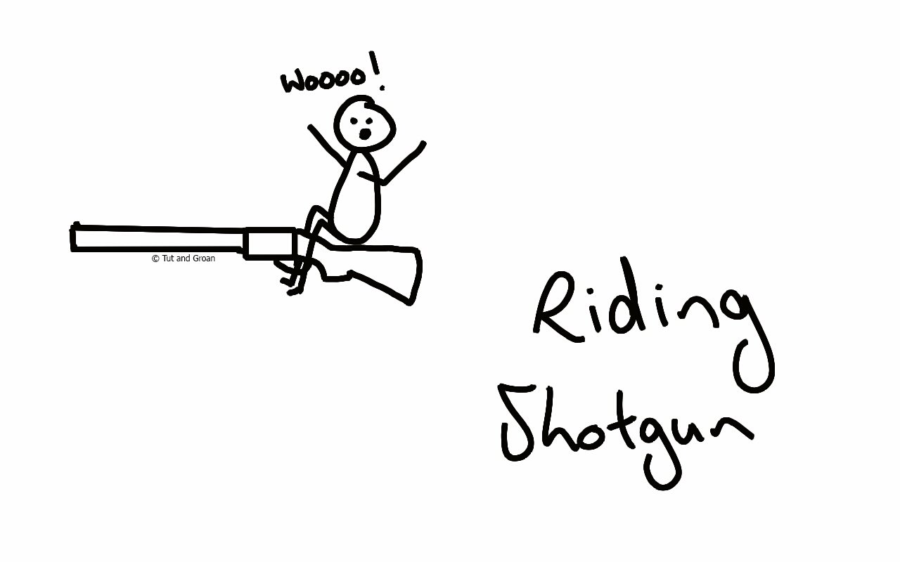 Tut and Groan Riding Shotgun cartoon