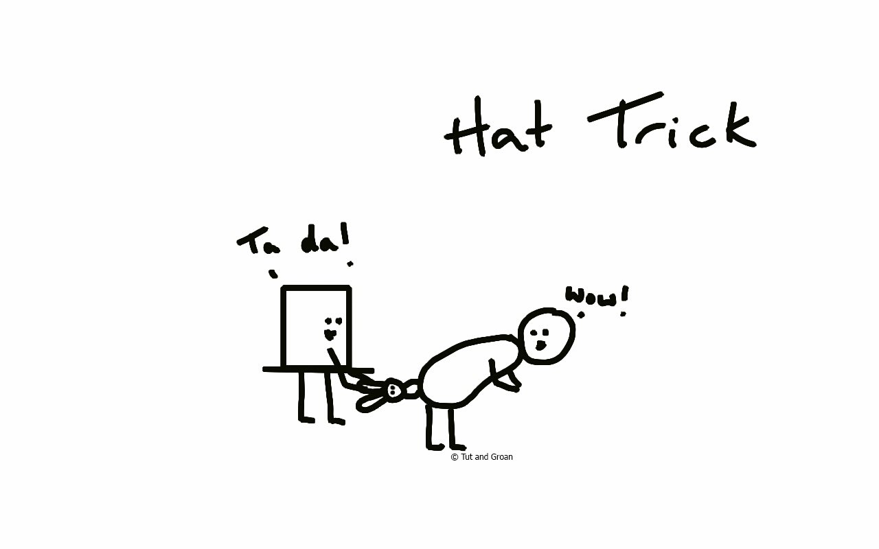 Tut and Groan Hat Trick cartoon