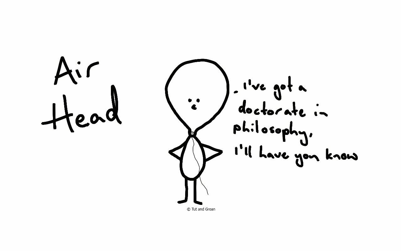Tut and Groan Air Head cartoon