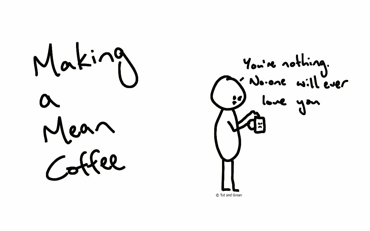 Tut and Groan Making a Mean Coffee cartoon