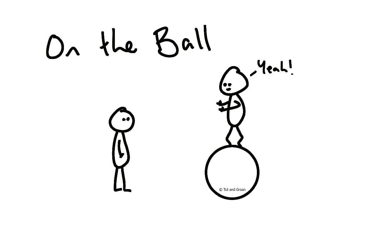 Tut and Groan On the Ball cartoon
