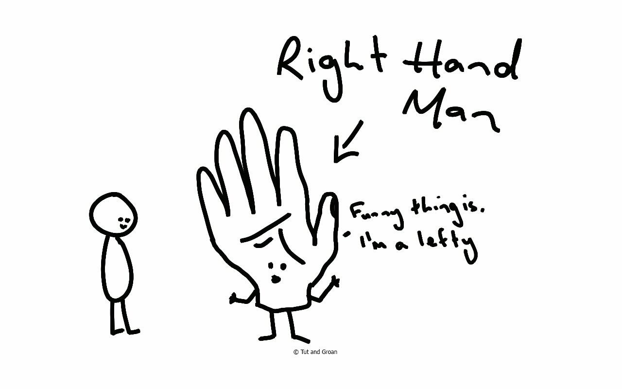 Tut and Groan Right Hand Man cartoon