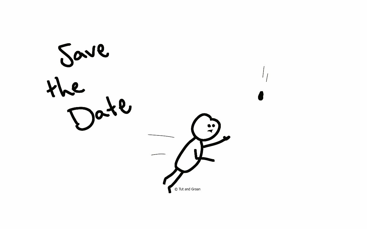 Tut and Groan Save the Date cartoon
