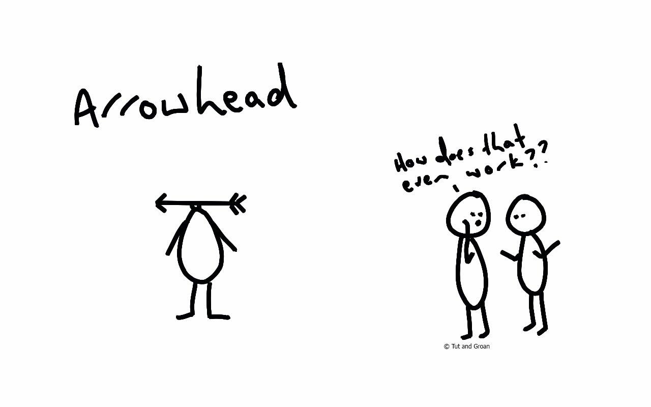 Tut and Groan Arrowhead cartoon