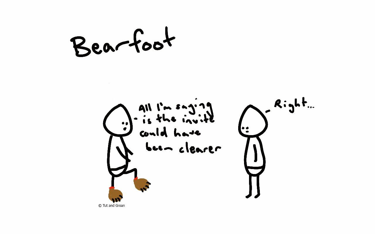 Tut and Groan Bearfoot/Barefoot cartoon