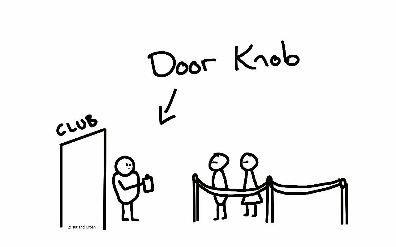 Tut and Groan Door Knob cartoon