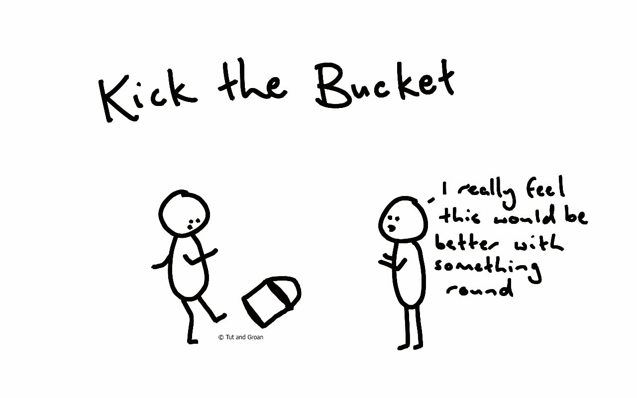 Tut and Groan Kick the Bucket cartoon