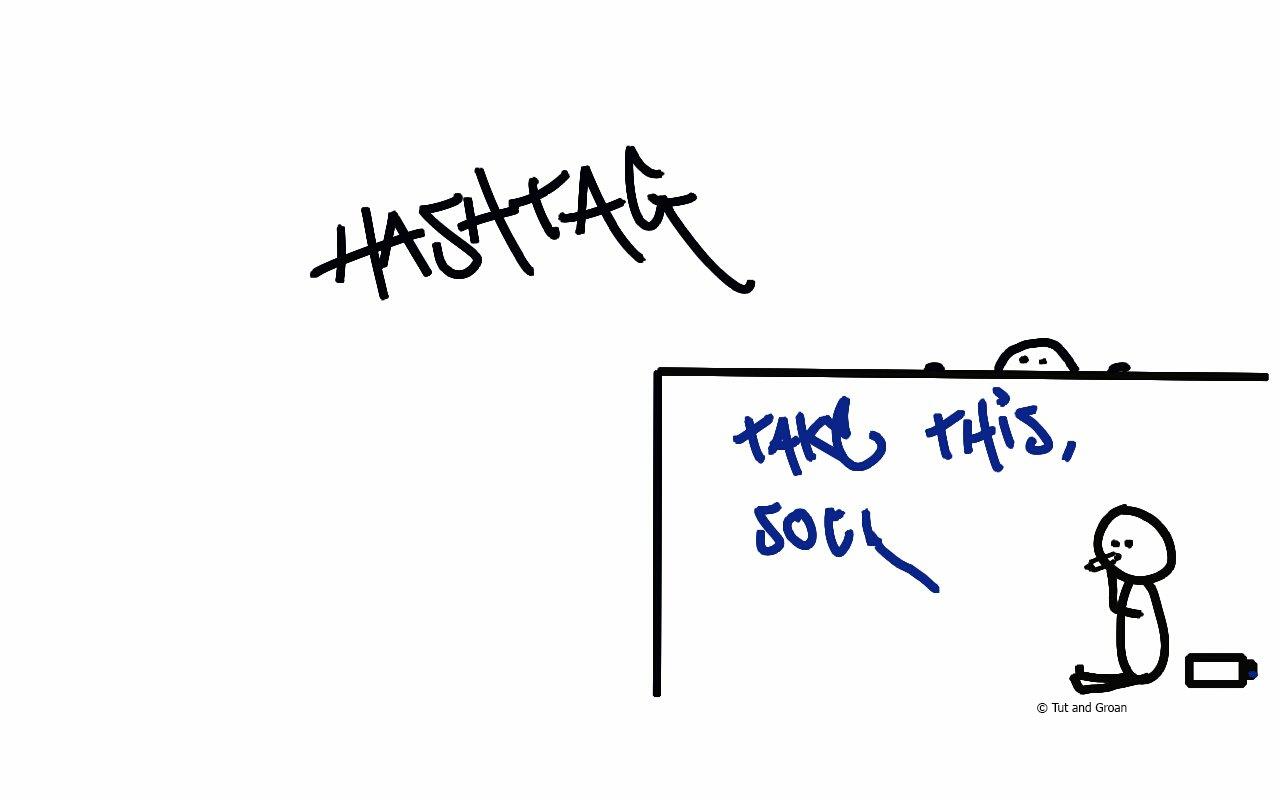 Tut and Groan Hashtag cartoon
