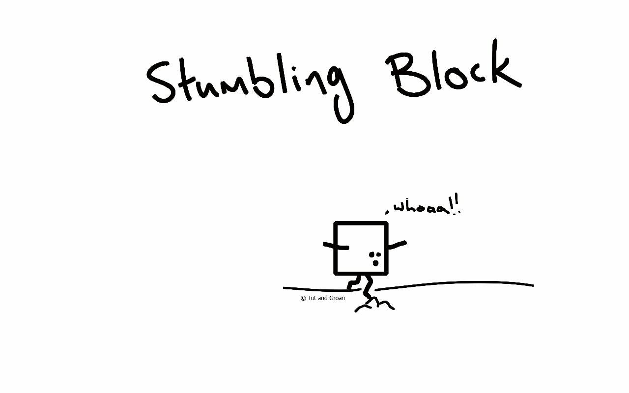 Tut and Groan Stumbling Block cartoon
