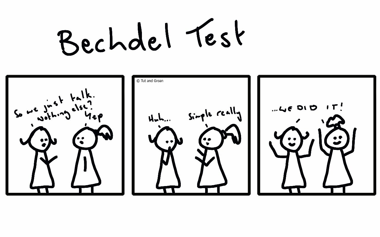 Tut and Groan Three Panels Bechdel Test cartoon