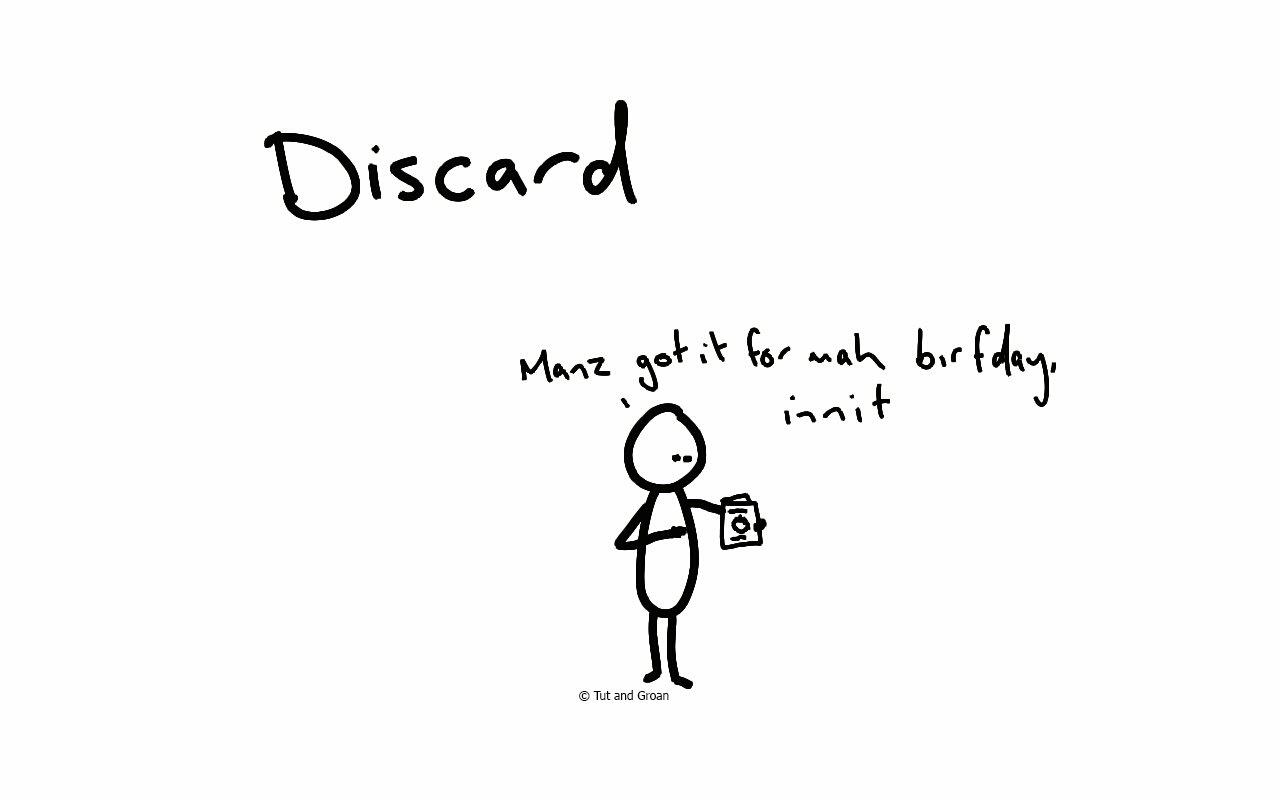 Tut and Groan Discard cartoon