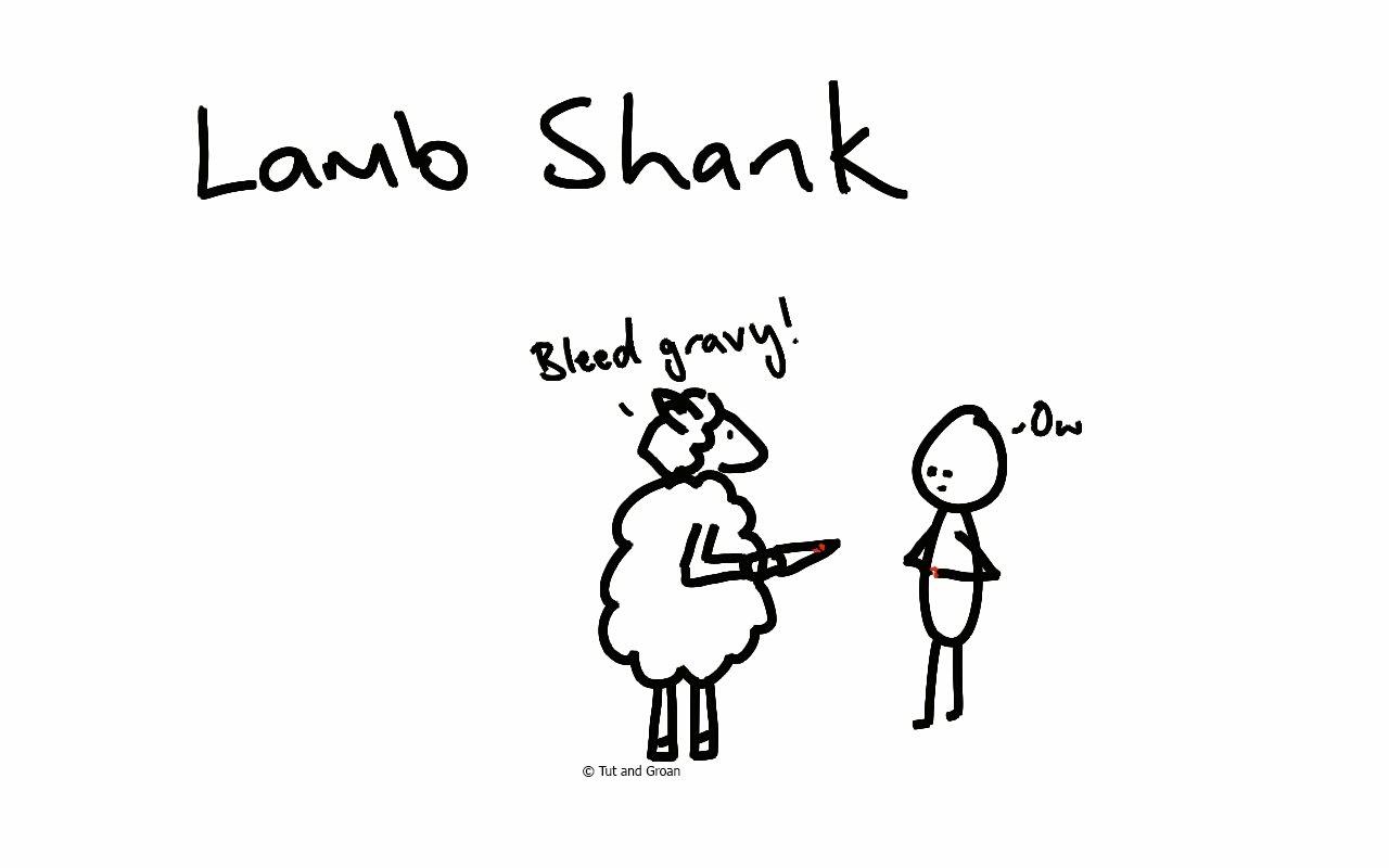 Tut and Groan Lamb Shank cartoon