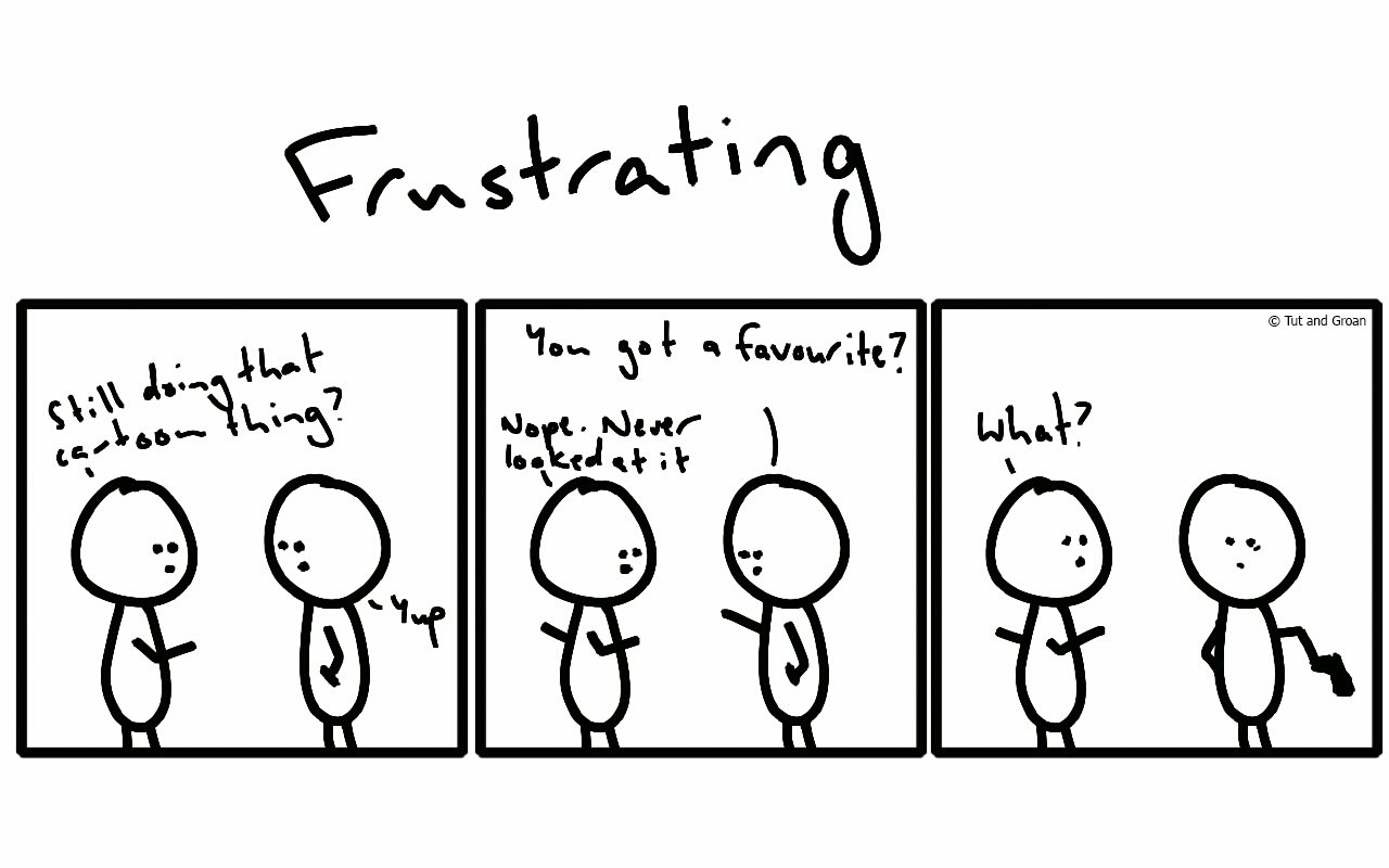 Tut and Groan Three Panels: Frustrating cartoon