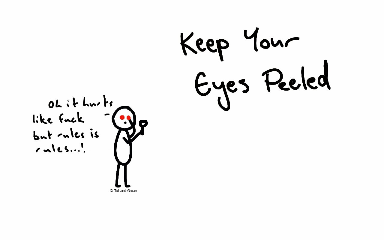 Tut and Groan Keep Your Eyes Peeled cartoon
