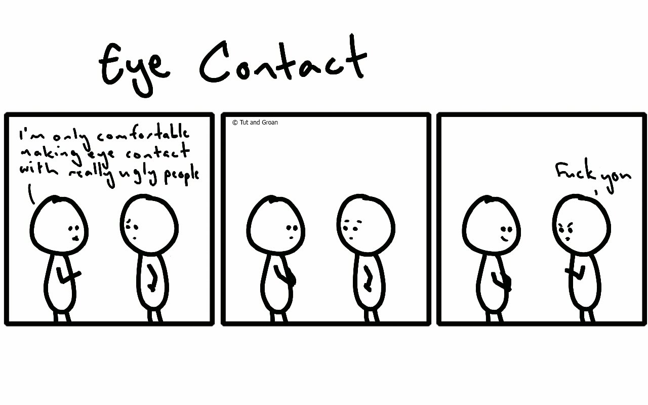 Tut and Groan Three Panels: Eye Contact cartoon