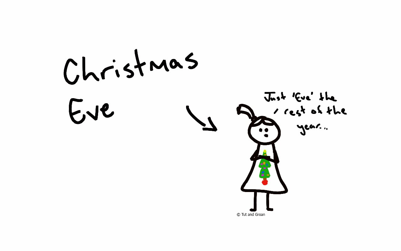 Tut and Groan Christmas Eve cartoon